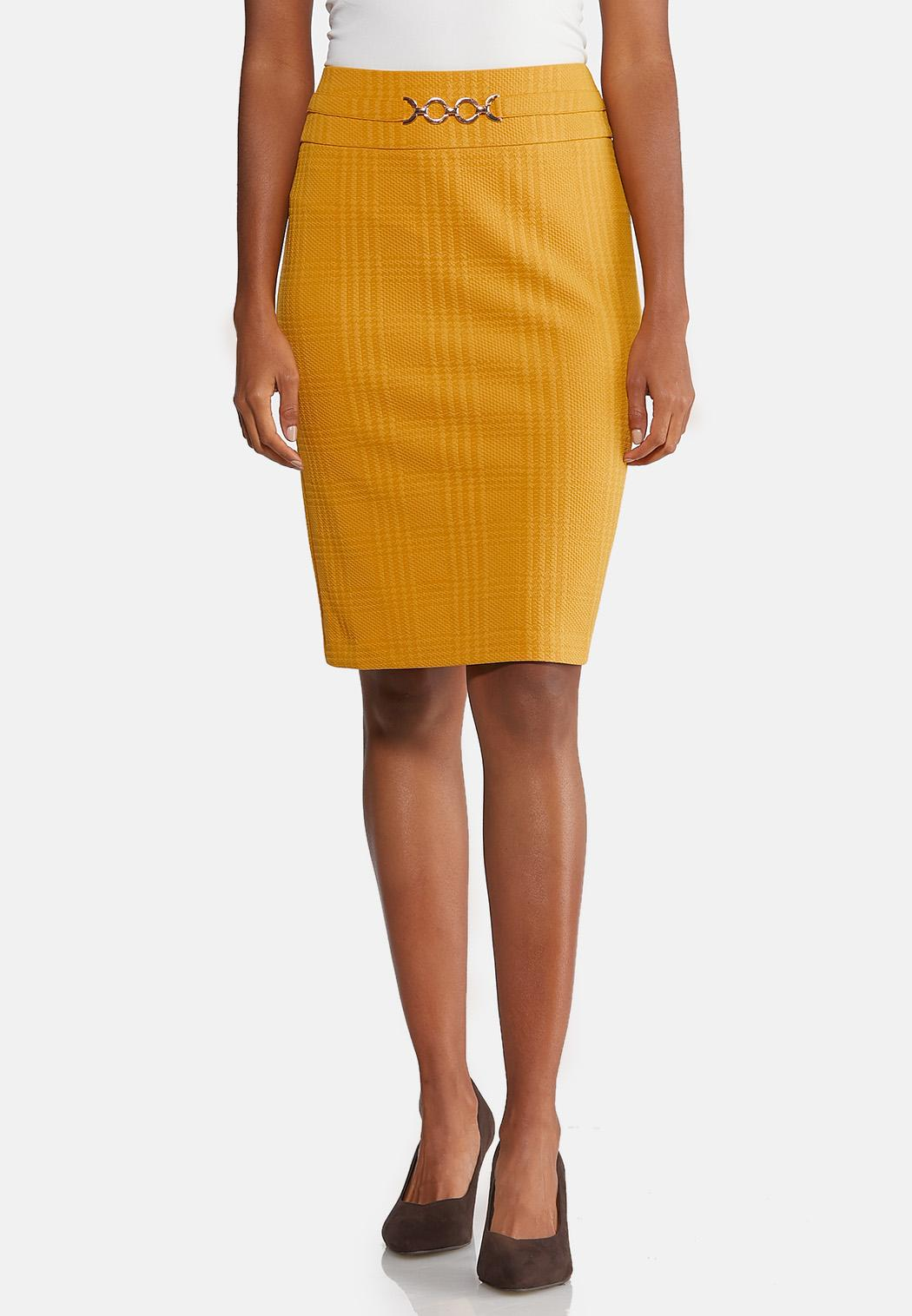 Plus Size Gold Textured Pencil Skirt