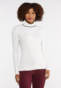 Plus Size Trim Turtleneck Top