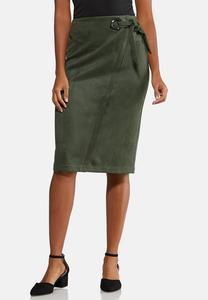 Plus Size Faux Suede Tie Skirt