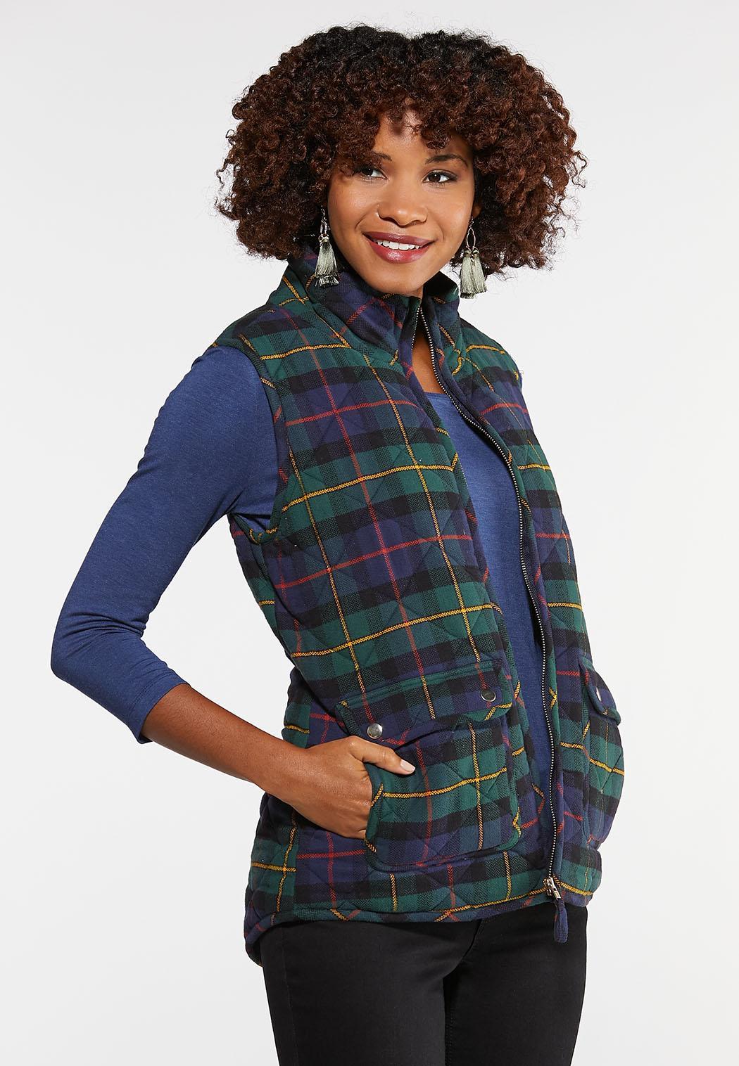 Plus Size Plaid Puffer Vest