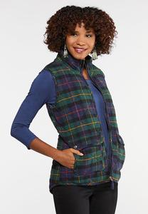 Plus Size Plaid Puffer Vest