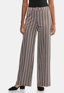 Wide Leg Stripe Belted Pants