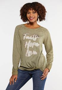 Plus Size Faith Hope Love Sweatshirt