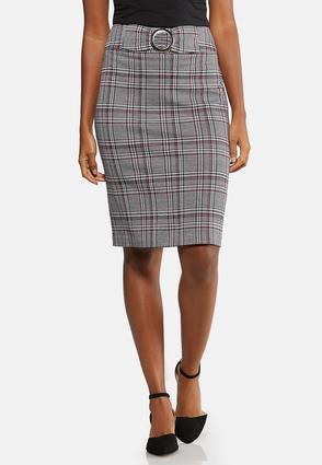 Plus Size Ring Belted Plaid Skirt