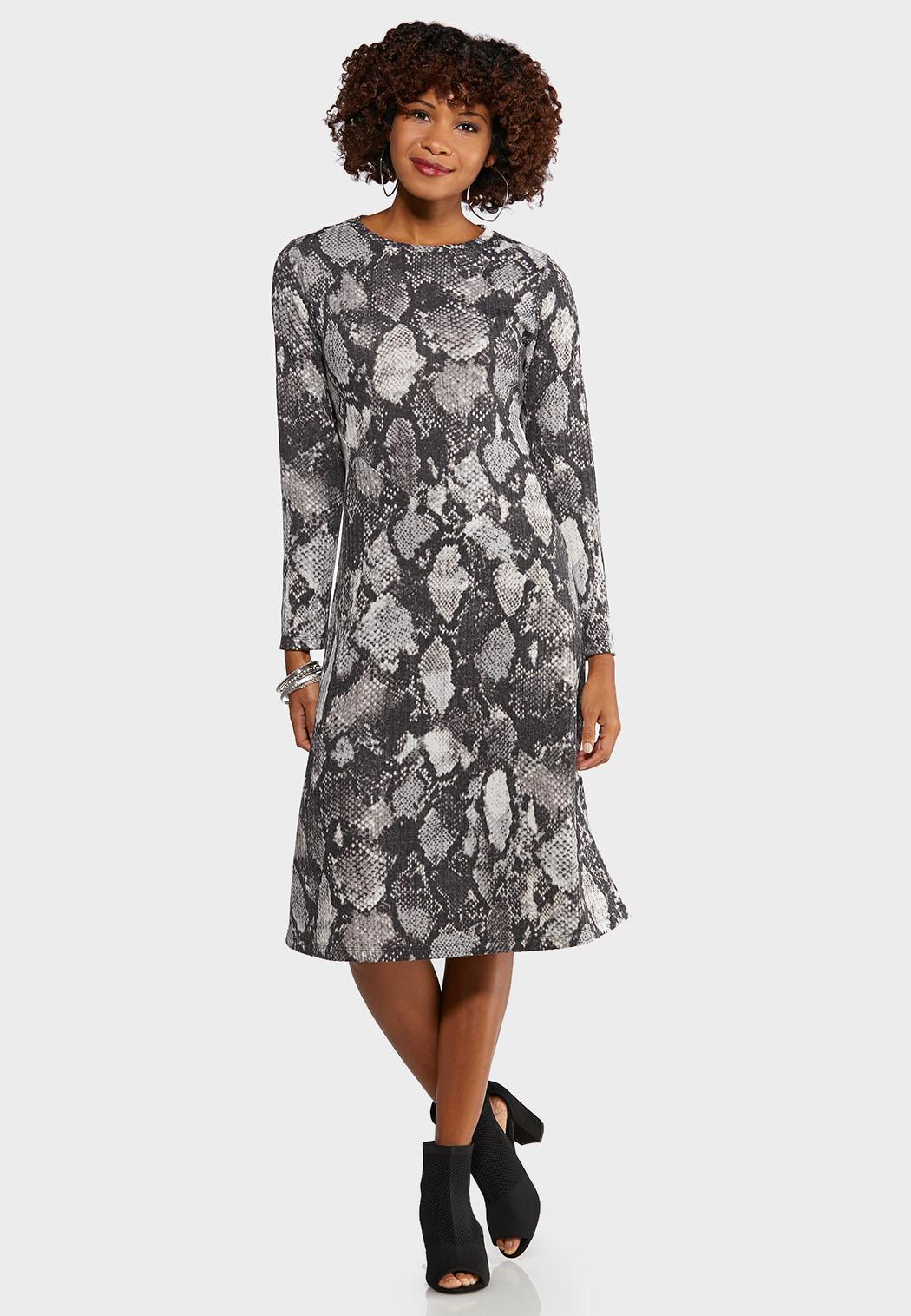 Plus Size Snake Midi Dress Midi Cato Fashions