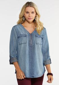 Plus Size Denim Equipment Shirt