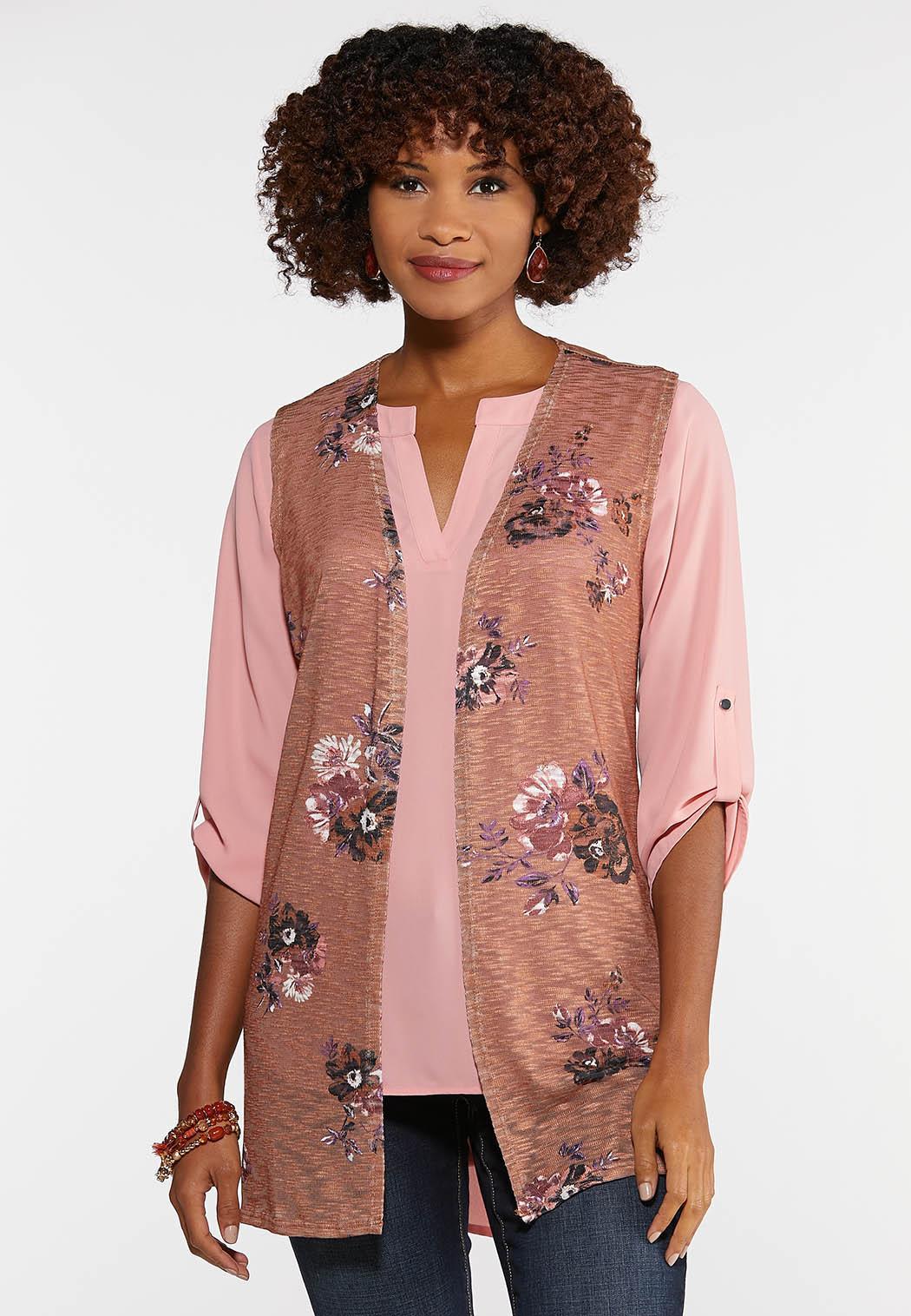 Brown Floral Vest