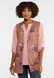 Plus Size Brown Floral Vest