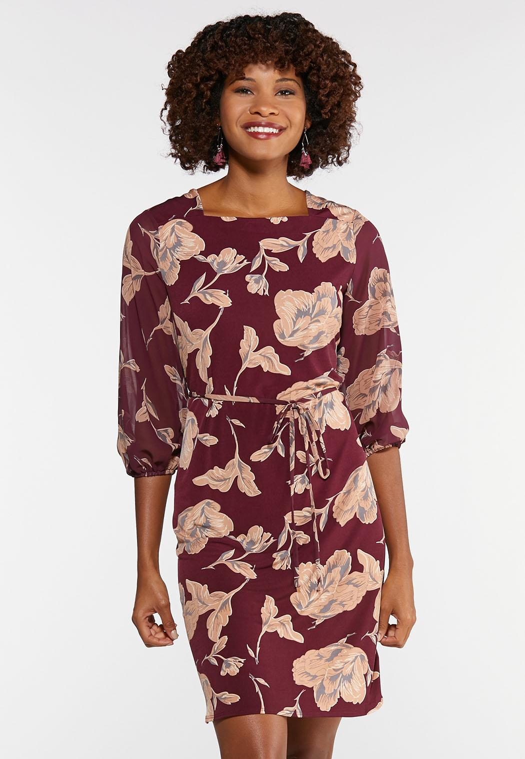 Plus Size Square Neck Floral Dress