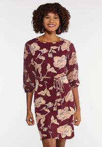 Plus Size Square Neck Floral Dress