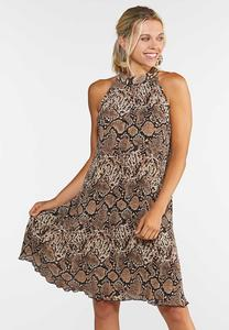 Pleated Snakeskin Dress
