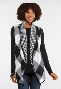 Plus Size Houndstooth Contrast Vest