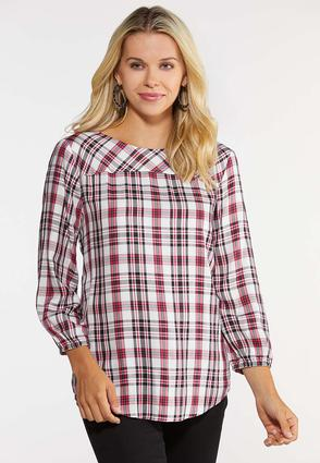 Plus Size Button Back Plaid Top