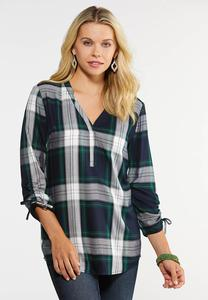 Plaid Tie Sleeve Shirt