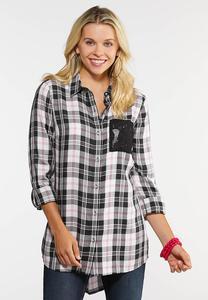 Plus Size Lace Pocket Plaid Shirt