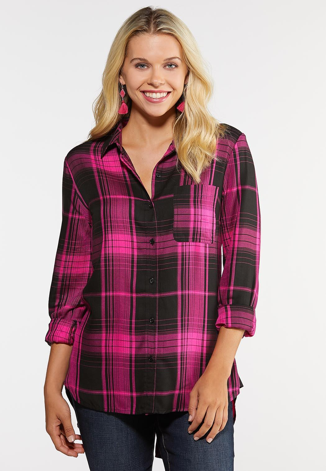 good durable modeling best prices Plus Size Bright Pink Plaid Shirt Shirts & Amp ; Blouses Cato Fashions