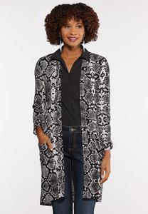Plus Size Snakeskin Duster Cardigan