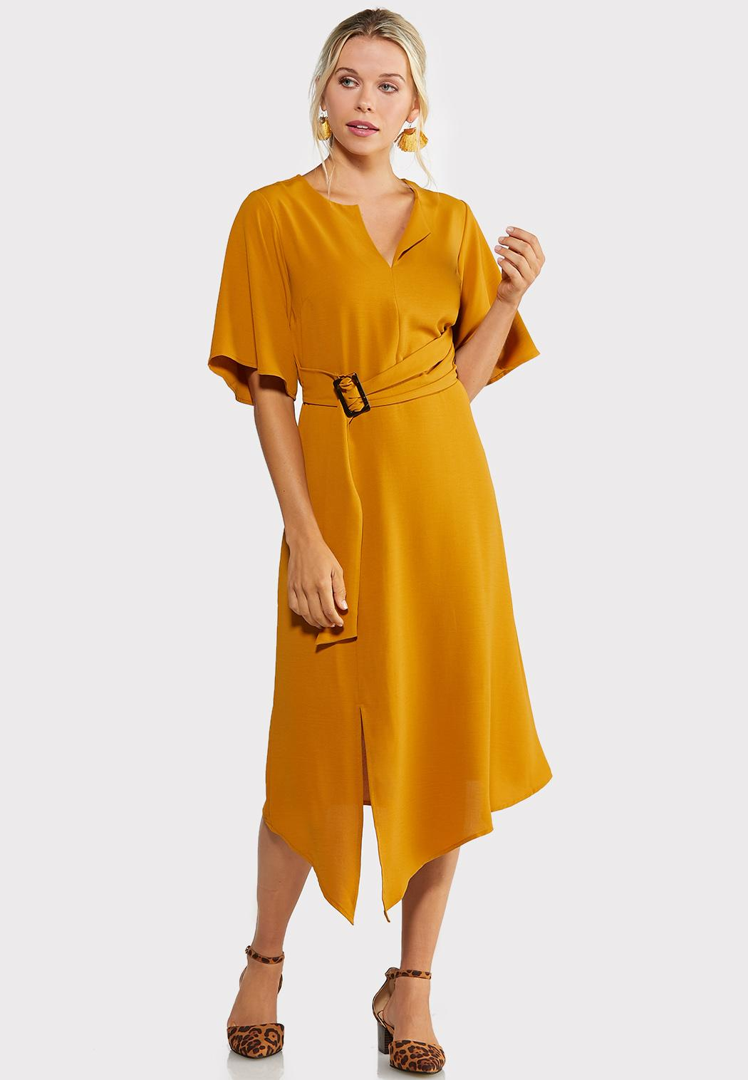 Plus Size Gold Belted Dress