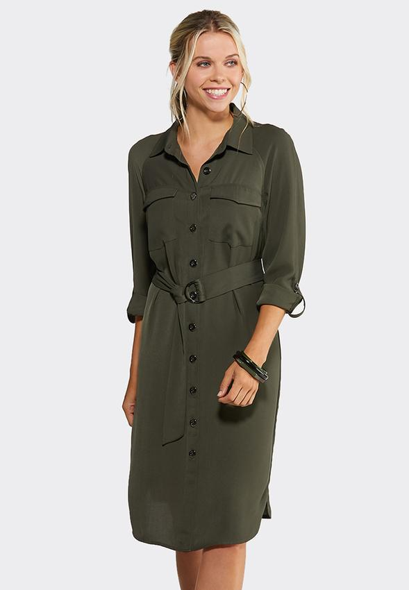 Plus Size Olive Utility Shirt Dress Plus Sizes Cato Fashions