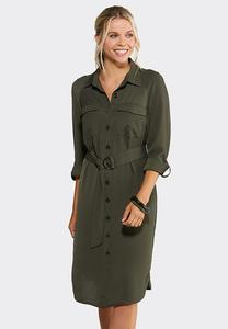 Plus Size Olive Utility Shirt Dress