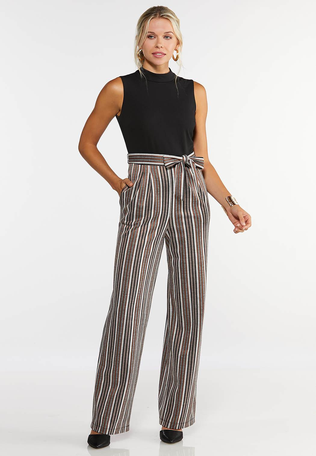 Plus Size Striped Leg Jumpsuit
