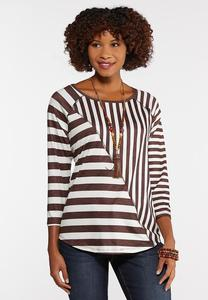 Plus Size Splice Stripe Top