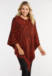 Tiger Stripe Poncho Sweater