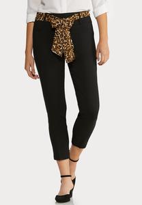 Leopard Belt Black Ankle Pants