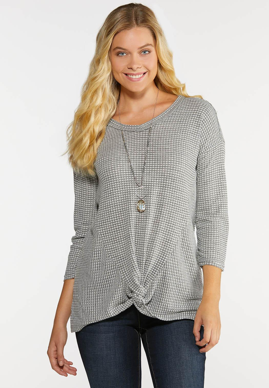 Plus Size Knotted Waffle Tunic Tops Cato Fashions