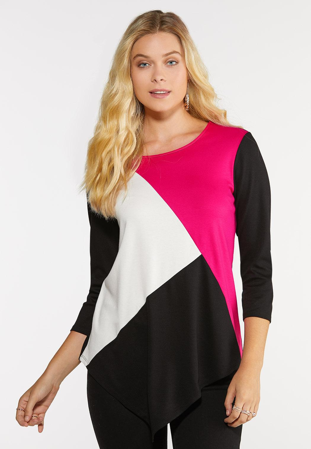 Plus Size Colorblock Ponte Top Tees & Amp ; Knit Tops Cato Fashions