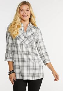 Plus Size Plaid Pullover Tunic