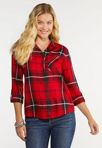 Plus Size Plaid High Low Top