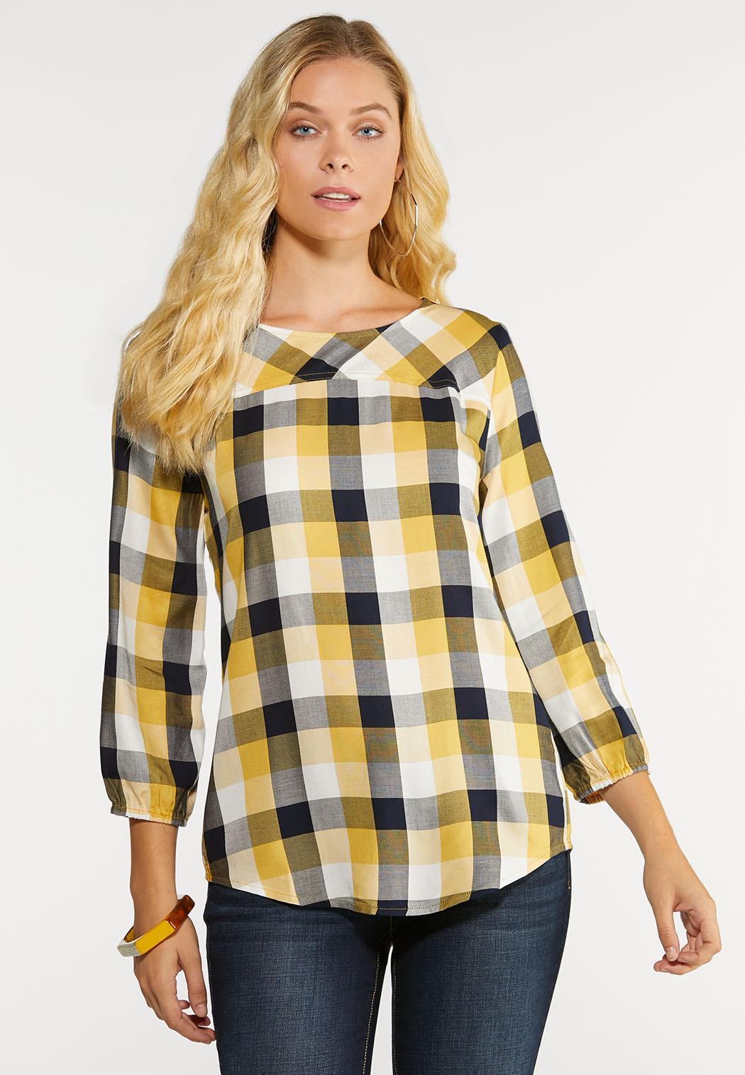 Plus Size Gold And Black Plaid Shirt