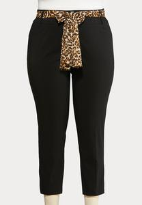 Plus Size Leopard Belt Black Ankle Pants