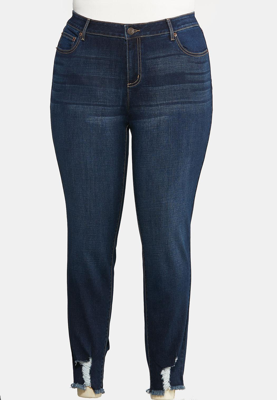 Plus Size Destructed Hem Skinny Jeans