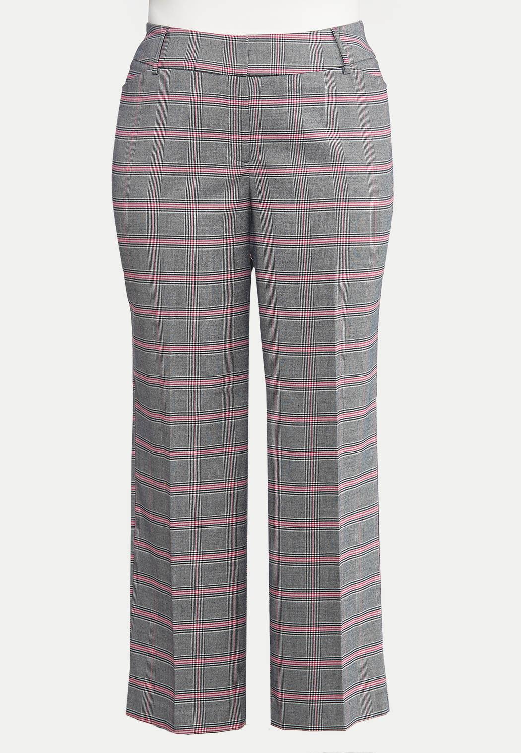 Plus Size Curvy Pink Plaid Trousers