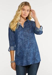Paisley Chambray Top