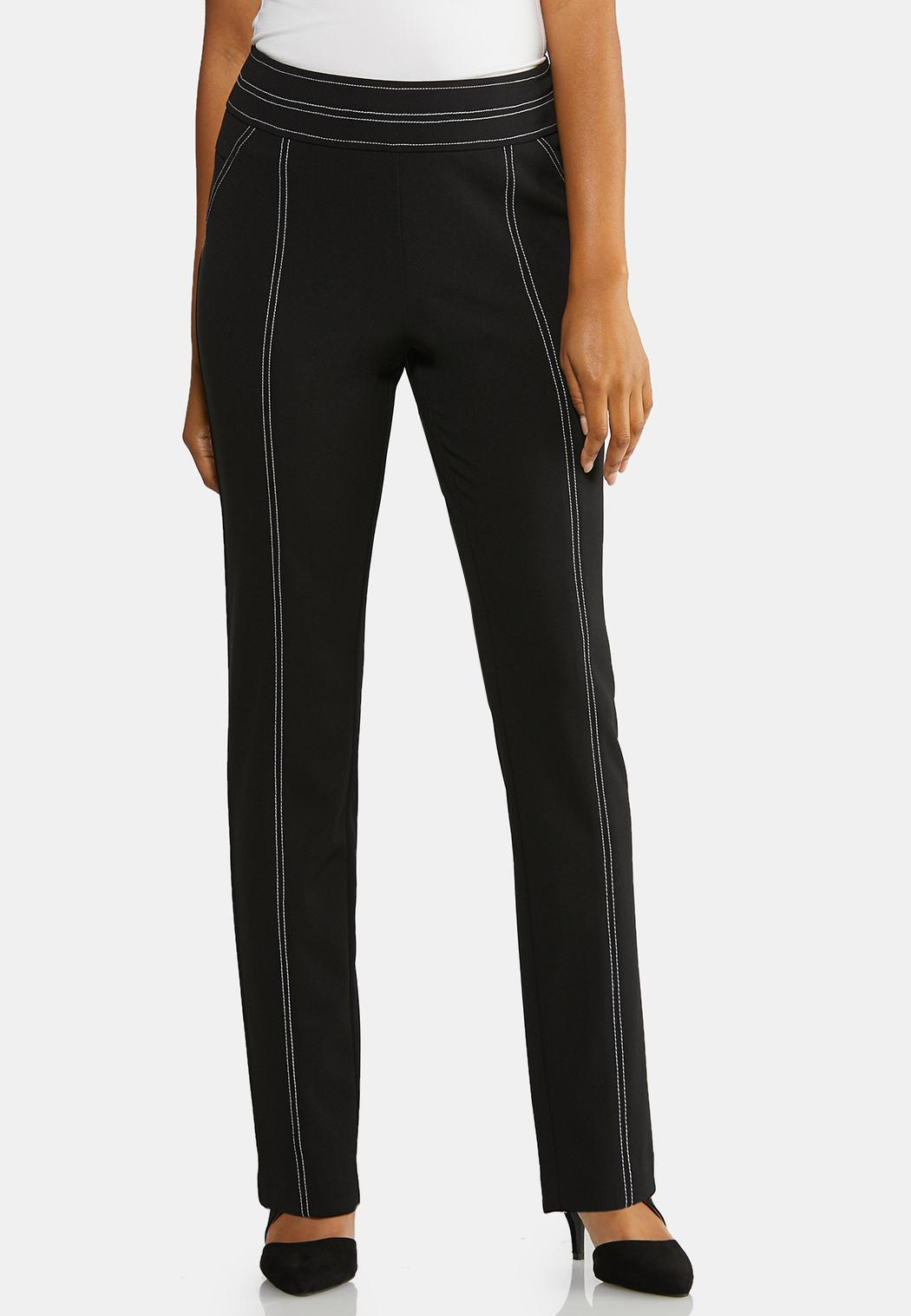 Contrast Stitch Pull-On Pants