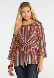 Plus Size Autumn Stripe Tie Top