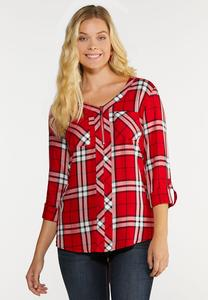 Plus Size Zip Front Plaid Top