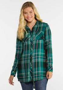 Plus Size Plaid Tunic Top