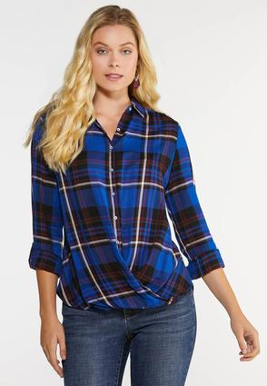 Plus Size Plaid Twist Top