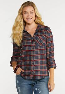 Plus Size Chenille Inset Plaid Top