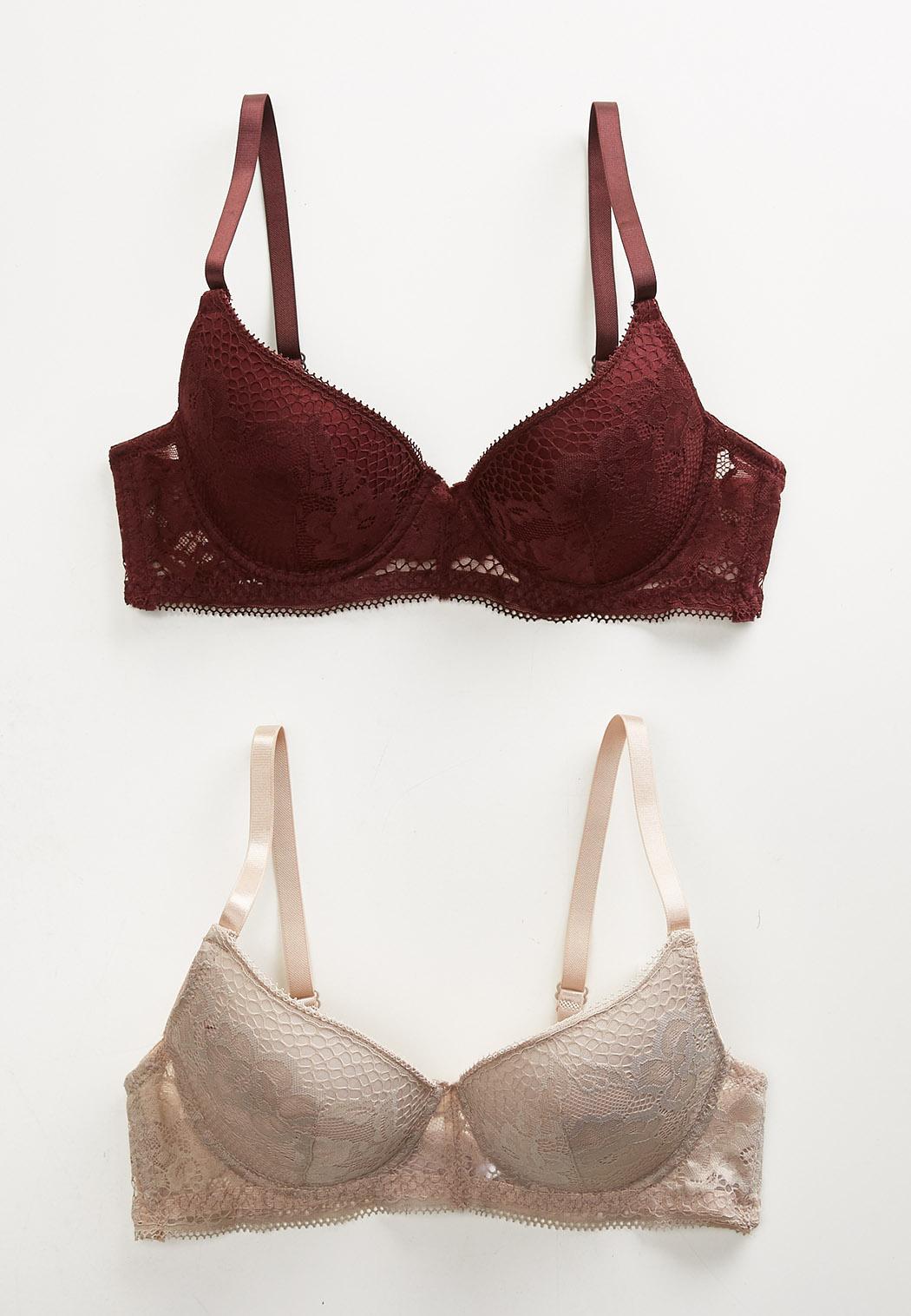 Plus Size Floral Lace Bra Set