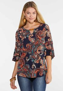 Plus Size Embellished Puff Paisley Top