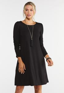 Ruched Sleeve Swing Dress