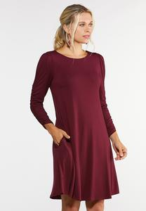 Plus Size Ruched Sleeve Swing Dress