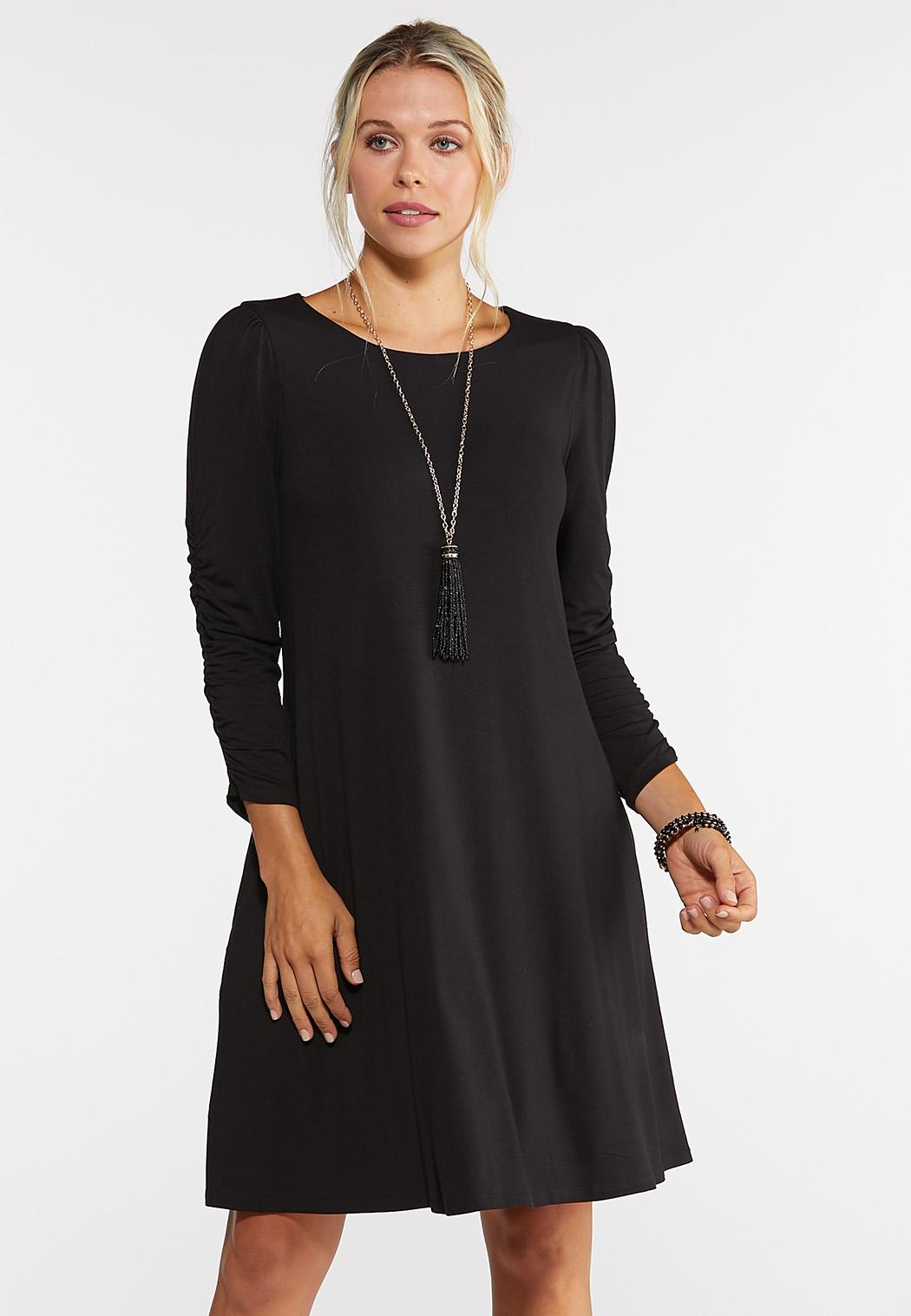Plus Size Ruched Sleeve Swing Dress A- Line & Amp ; Swing Cato Fashions