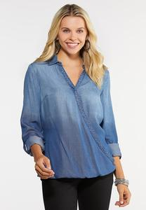 Plus Size Surplice Chambray Top