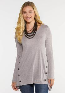 Plus Size Button Side Top